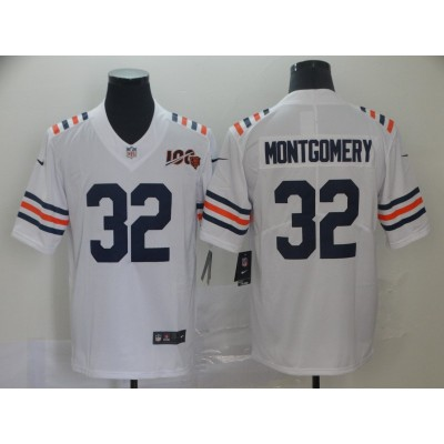 Nike Chicago Bears 32 David Montgomery 100th Season White Vapor Untouchable Limited Men Jersey