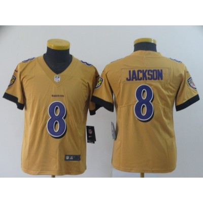 Nike Ravens 8 Lamar Jackson Gold Inverted Legend Youth Jersey