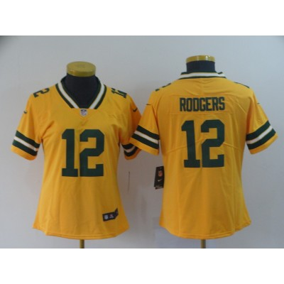 Packers 12 Aaron Rodgers Gold Inverted Legend Women Jersey