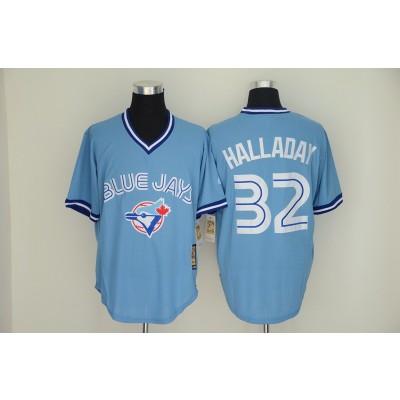Blue Jays 32 Roy Halladay Light Blue Throwback Men Jersey