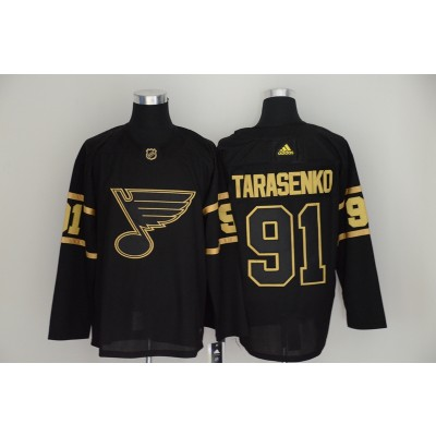 Blues 91 Vladimir Tarasenko Black Gold Adidas Men Jersey