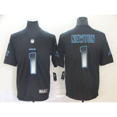 Carolina Panthers 1 Cam Newton Black 2019 Smoke Fashion Limited Men Jersey