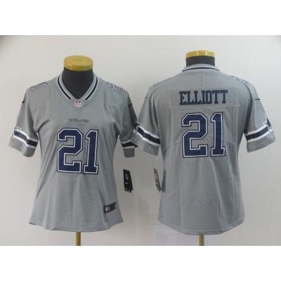 Nike Cowboys 21 Ezekiel Elliott Grey Inverted Legend Women Jersey