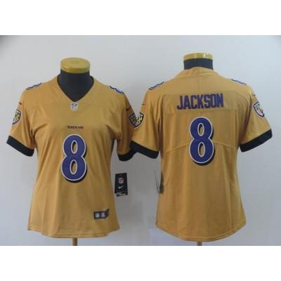 Nike Ravens 8 Lamar Jackson Gold Inverted Legend Women Jersey