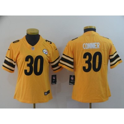 Nike Pittsburgh Steelers 30 James Conner Gold Inverted Legend Women Jersey