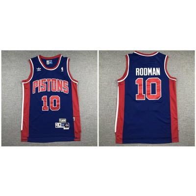 NBA Pistons 10 Dennis Rodman Navy Hardwood Classics Men Jersey