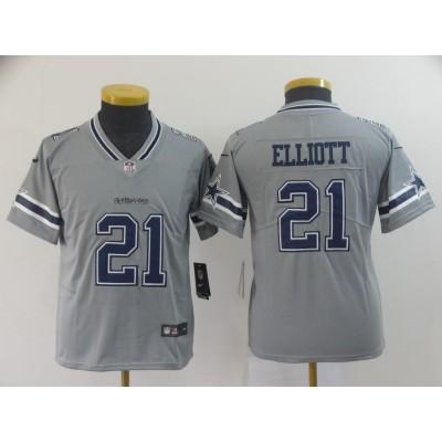 Nike Cowboys 21 Ezekiel Elliott Grey Inverted Legend Youth Jersey