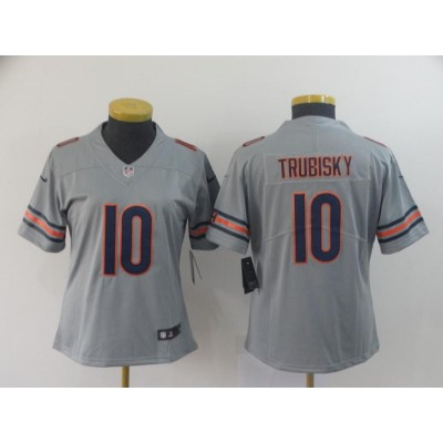 Nike Bears 10 Mitchell Trubisky Sliver Inverted Legend Women Jersey