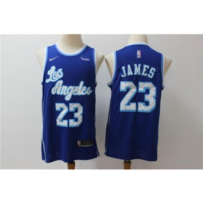 NBA Lakers 23 Lebron James Blue Nike Men Jersey