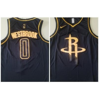 NBA Houston Rockets 0 Russell Westbrook Black Gold Men Jersey
