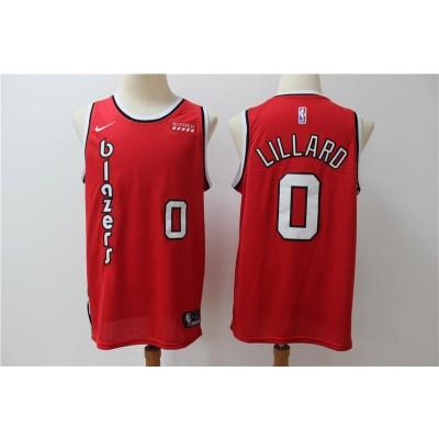 NBA Blazers 0 Damian Lillard Red Nike Men Jersey