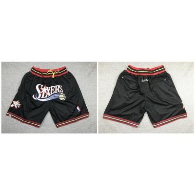 NBA 76ers Black Just Don Throwback Mesh Shorts