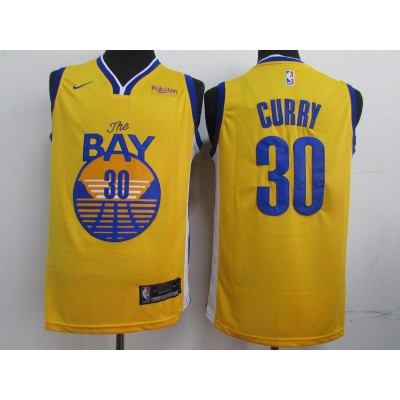 2019 NBA Warriors 30 Stephen Curry Yellow Jersey