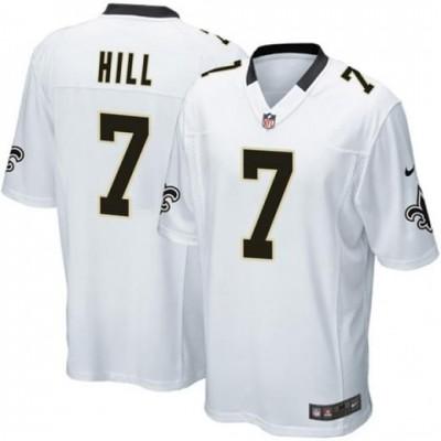 Nike Saints 7 Taysom Hill White Elite Men Jersey