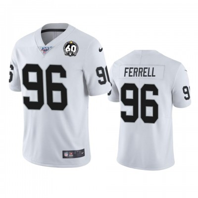 Nike Oakland Raiders 96 Clelin Ferrell White 60th Anniversary Vapor Limited Mne Jersey