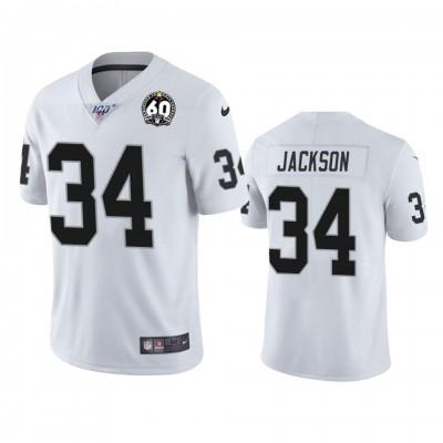 Niek Oakland Raiders 34 Bo Jackson Black White 60th Anniversary Vapor Men Jersey
