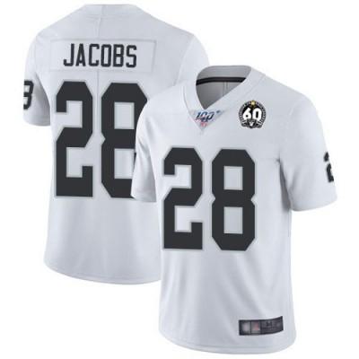 Oakland Raiders 28 Josh Jacobs White 60th Anniversary Vapor Untouchable Limited Men Jersey