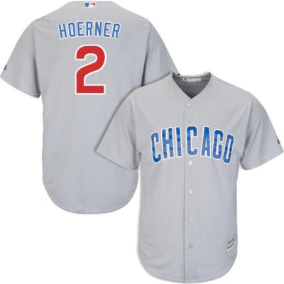 MLB Majestic Chicago Cubs 2 Nico Hoerner Road Cool Base Gray Men Jersey