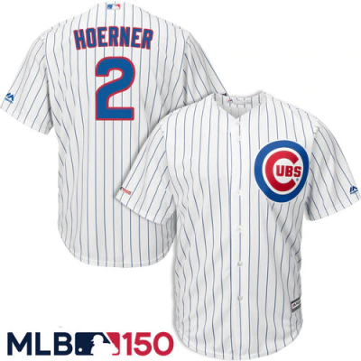 MLB Majestic Chicago Cubs 2 Nico Hoerner 150th Road Flexbase White Men Jersey