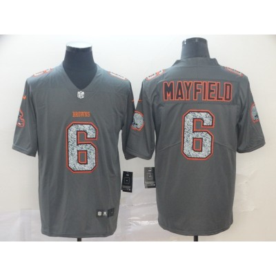 Nike Browns 6 Baker Mayfield Gray Static Vapor Untouchable Limited Men Jersey