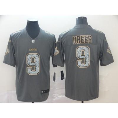 Nike Saints 9 Drew Brees Gray Static Vapor Untouchable Limited Men Jersey