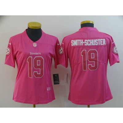 Nike Steelers 19 JuJu Smith-Schuster Pink Women Jersey