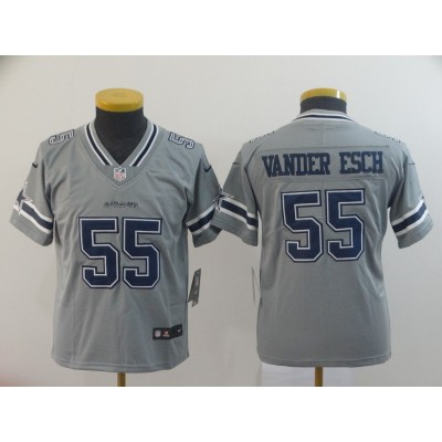 Nike Cowboys 55 Leighton Vander Esch Grey Inverted Legend Youth Jersey