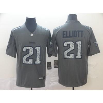 Nike Cowboys 21 Ezekiel Elliott Gray Static Vapor Untouchable Limited Men Jersey
