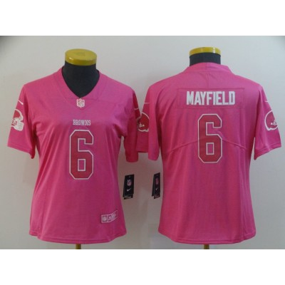 Nike Browns 6 Baker Mayfield Pink Women Jersey