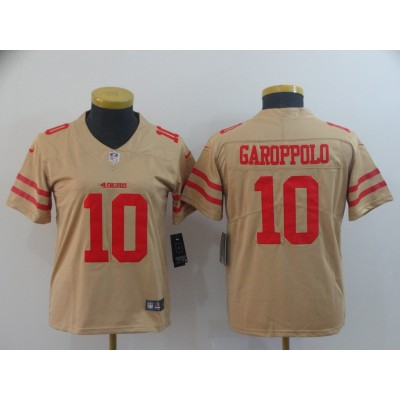 Nike 49ers 10 Jimmy Garoppolo Gold Inverted Legend Youth Jersey