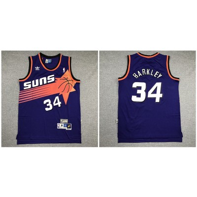 NBA Suns 34 Charles Barkley Purple Hardwood Classics Men Jersey