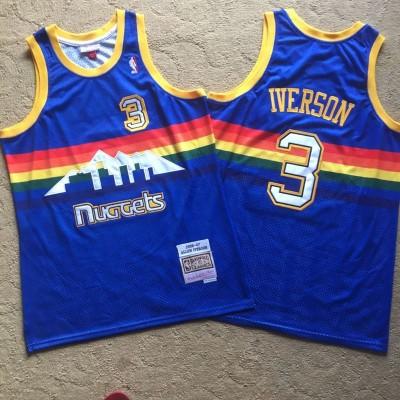 NBA Nuggets 3 Allen Iverson Blue 2006-07 Hardwood Classics Men Jersey