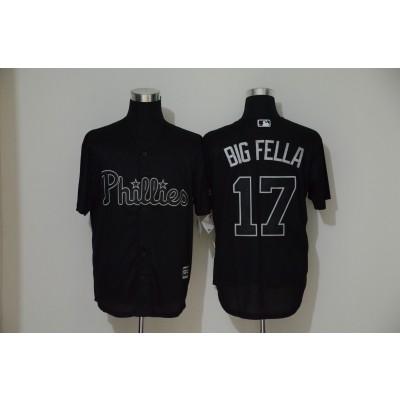 MLB Phillies 17 Rhys Hoskins 'Big Fella' Black 2019 Players' Weekend Player Men Jersey
