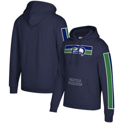 Men's Seattle Seahawks Seattle Seahawks 2019 Navy Mitchell & Ness Three Stripe Pullover Hoodie