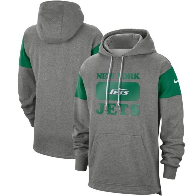 Men's New York Jets 2019 Grey Fan Gear Historic Pullover Hoodie