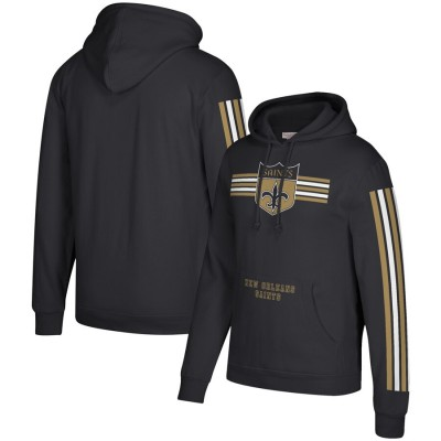 Men's New Orleans Saints 2019 Black Mitchell & Ness Three Stripe Pullover Hoodie