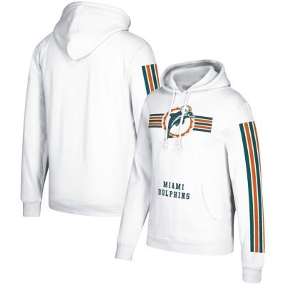 Men's Miami Dolphins 2019 White Mitchell & Ness Three Stripe Pullover Hoodie
