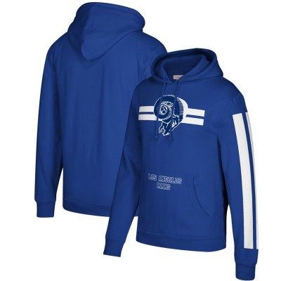 Men's Los Angeles Rams 2019 Royal Mitchell & Ness Three Stripe Pullover Hoodie