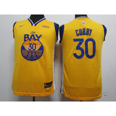 NBA Warriors 30 Stephen Curry Yellow 2020 New Nike Youth Jersey