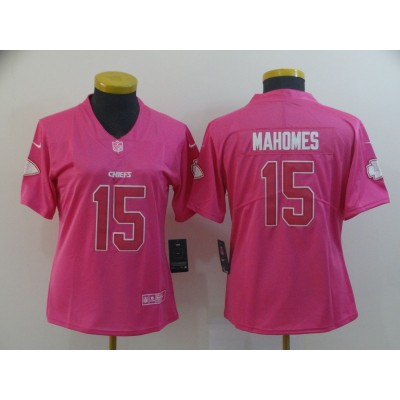 Nike Chiefs 15 Patrick Mahomes Pink Limited Women jerey