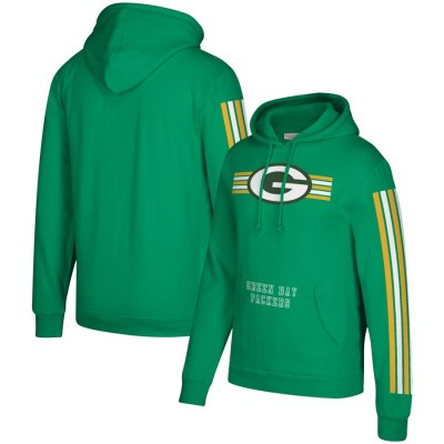 Men's Green Bay Packers 2019 Green Mitchell & Ness Three Stripe Pullover Hoodie