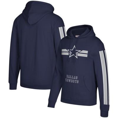 Men's Dallas Cowboys 2019 Navy Mitchell & Ness Three Stripe Pullover Hoodie