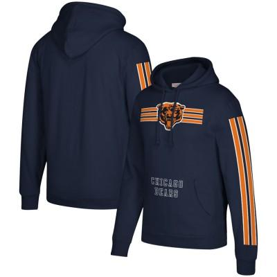 Men's Chicago Bears 2019 Navy Mitchell & Ness Three Stripe Pullover Hoodie