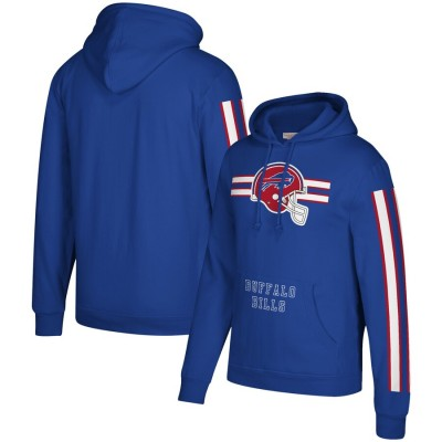 Men's Buffalo Bills 2019 Royal Mitchell & Ness Three Stripe Pullover Hoodie