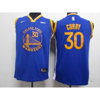 NBA Warriors 30 Stephen Curry Blue 2020 New Nike Youth Jersey