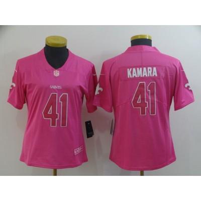 Nike Saints 41 Alvin Kamara Pink Women Jersey