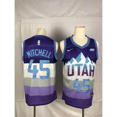 NBA Jazz 45 Donovan Mitchell Purple City Edition Nike Men Jersey