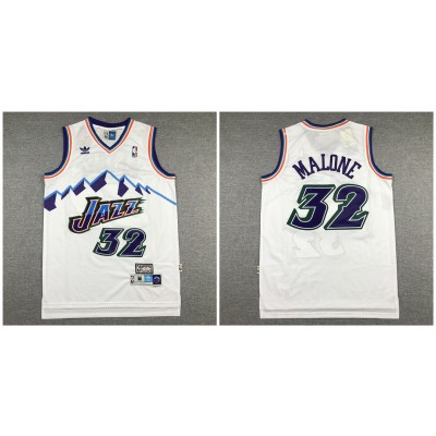 NBA Jazz 32 Karl Malone White Hardwood Classics Men Jersey