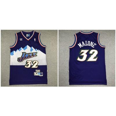 NBA Jazz 32 Karl Malone Purple Hardwood Classics Men Jersey