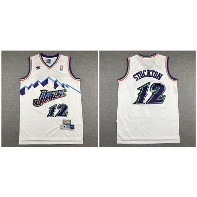 NBA Jazz 12 John Stockton White Hardwood Classics Men Jersey